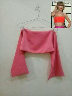 FREEONG Pink Tied Back Crop Top