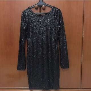 Black Sequins Top Dress