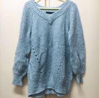 Heather Japan v knit/sweater 灰藍 v領 冷衫 質地舒服。原價hkd429