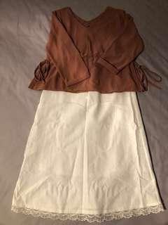 白色麻質半截裙Japan