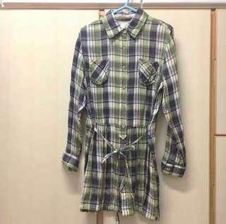 Ramonpole Japan light green white grey long cotton shirt dress / open jacket 購自日本 日本牌子 淺綠色 灰色 格子 格仔 恤衫 綿質 連身裙 開胸外套 綁帶 修腰