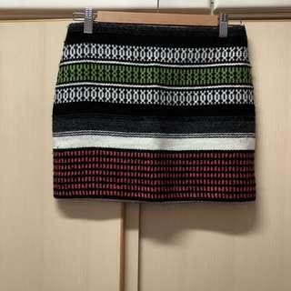 Maje grey black green orange pattern mini skirt made in Romania size xs 34 購自歐洲 歐洲牌子 灰色 黑色 綠色 橙色 民族風 圖案 間條 橫間 短裙
