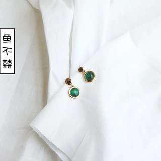 🚚 全新 墨綠 祖母綠 耳環 夾式 免穿耳洞 復古