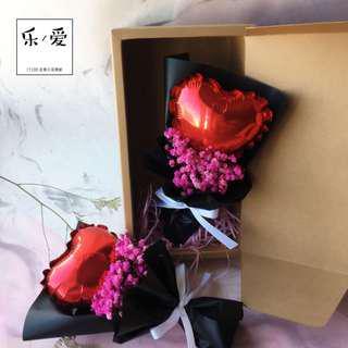 🚚 樂愛L'e Love-告白氣球滿天星乾燥花束 情人節花束(附盒裝)