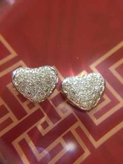 ❤️💕 18K 天然鑽石 💚🧡耳環 耳釘