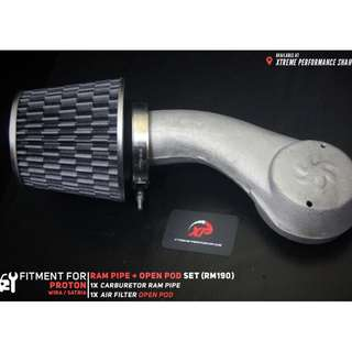 Carburetor Ram Pipe for Proton Wira Satria With Open Pod Air Filter Carbon set