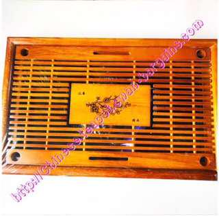 Wooden Chinese Gongfu Puer Tie Kwan Yin Oolong Tea Preparation & Service Tray with Water Drainage Drawer Kungfu Tea Preparation