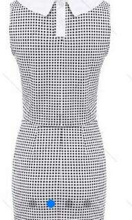 Trendy Peter Pan Collar Checked Sleeveless Women's Suit - Checked -