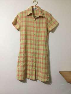 🚚 【古著】雙美牌橘黃格紋短袖洋裝
