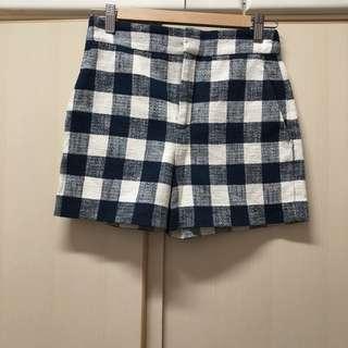 from Zara navy blue pocket high-rise shorts 深藍 藍色 格子 有袋 高腰 短褲 Made in Morocco