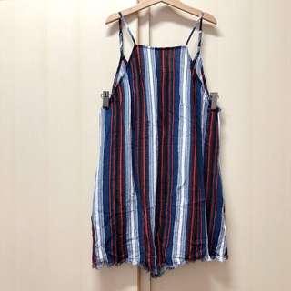 Lush Japan stripped short overalls size s 日牌 日本牌子 紅藍白 條紋 直間 入膊背心 有袋 連身褲