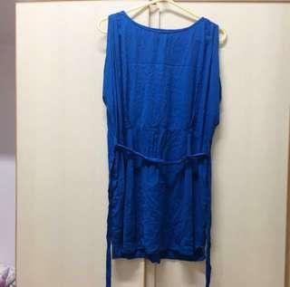 WON HUNDRED New York Usa Canada blue one piece dress size 34 紐約 加拿大 牌子 斯文 文青 藍色 束腰 背心 連身裙