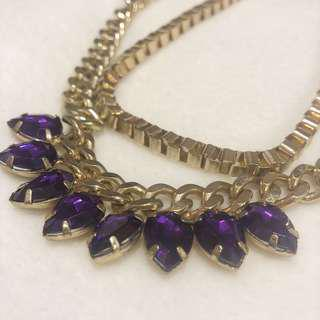 2 Layered Necklace with Purple Gems