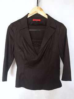 Office Collared Blouse (Choco Brown)