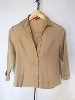 Office Collared Blouse (Beige)
