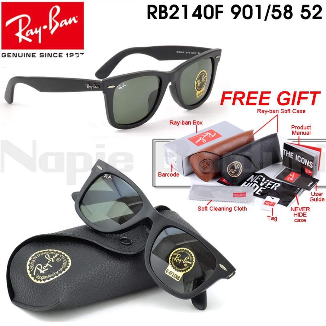 337fd4c3d5 Original Ray-Ban Wayfarer RB2140F 901/58 (Polish Black), Luxury,  Accessories on Carousell