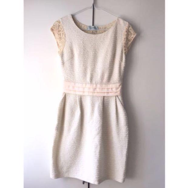 🈹🈹🈹 Tweed Lace pink Dress with pocket