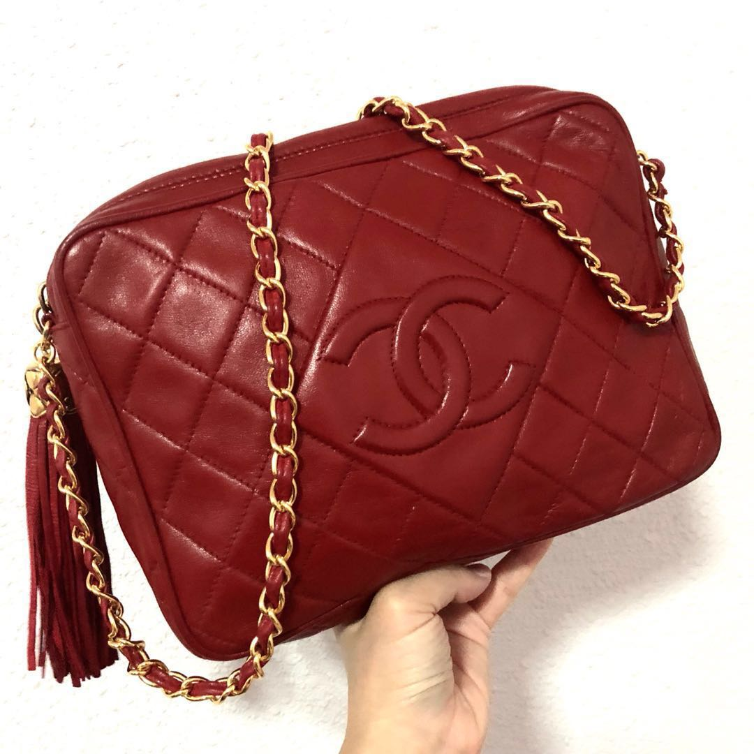 a787cf28a209 Authentic Chanel Wine Red Lambskin Camera Bag with Diamond Quilts ...