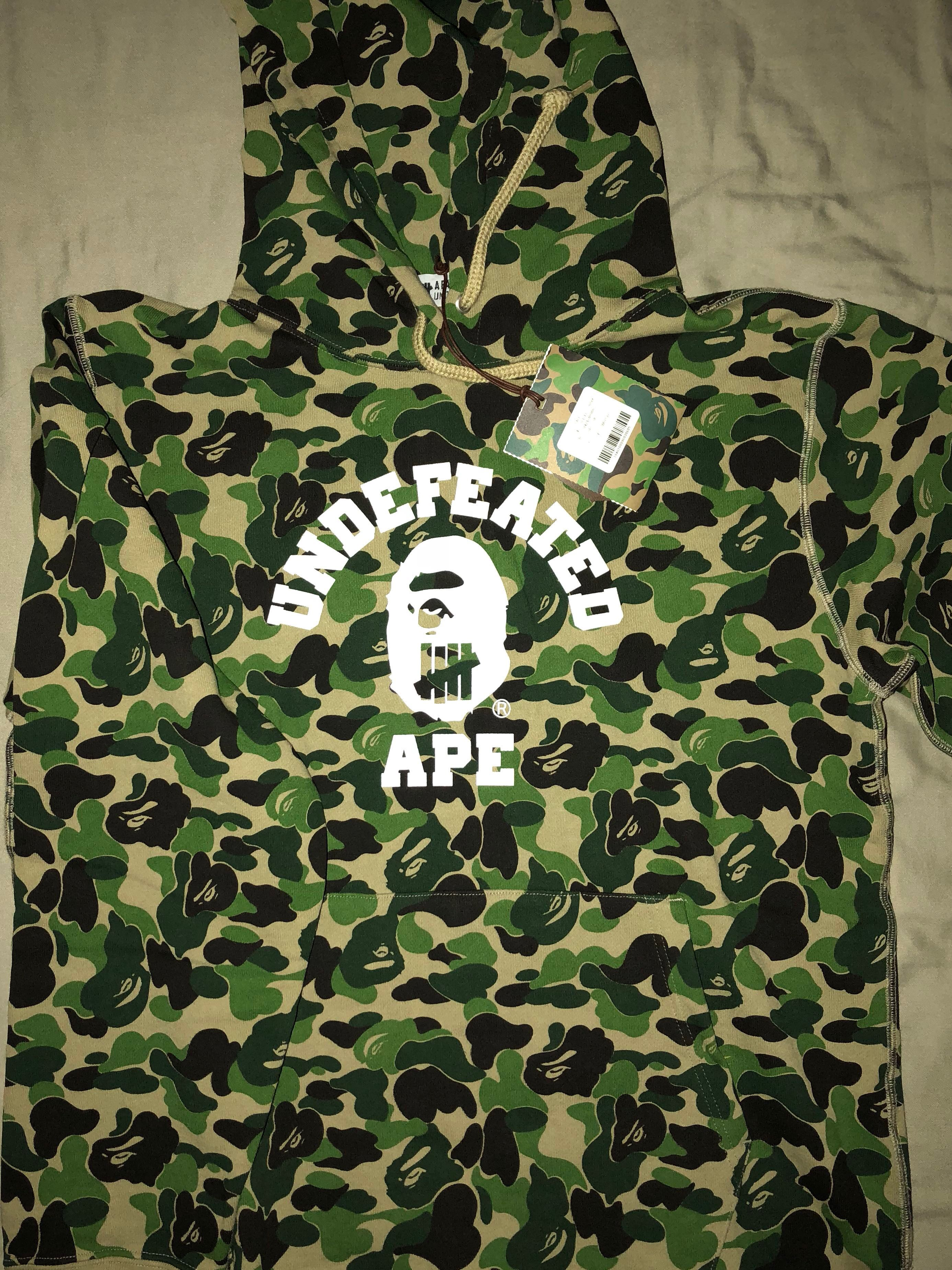 15529134 Bape x undefeated Hoodie, Men's Fashion, Clothes, Outerwear on Carousell