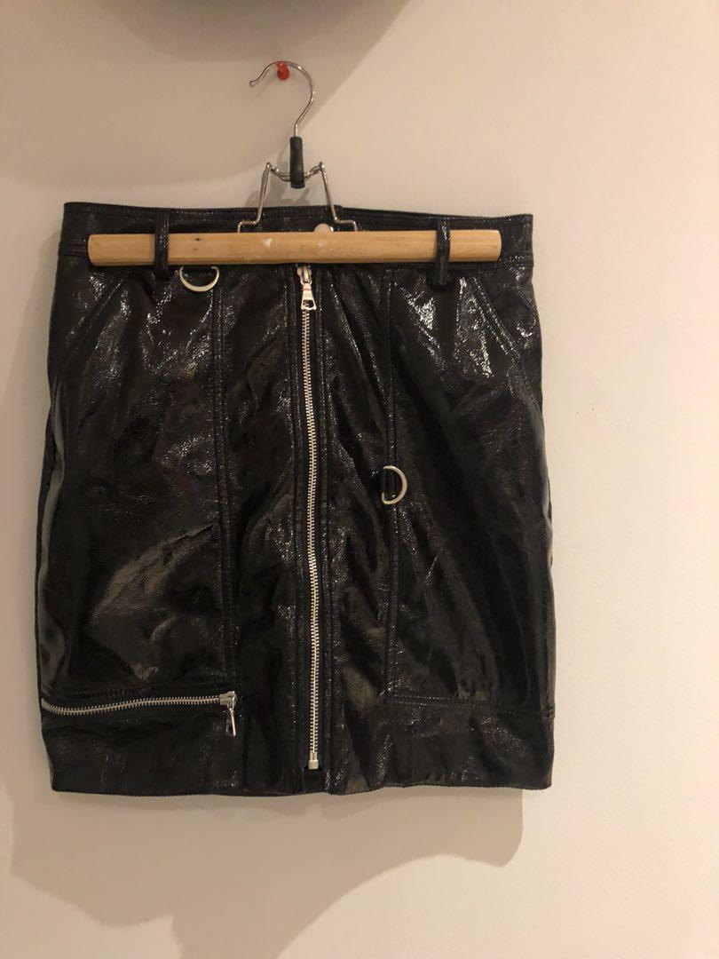 Bardot shiny black zip skirt