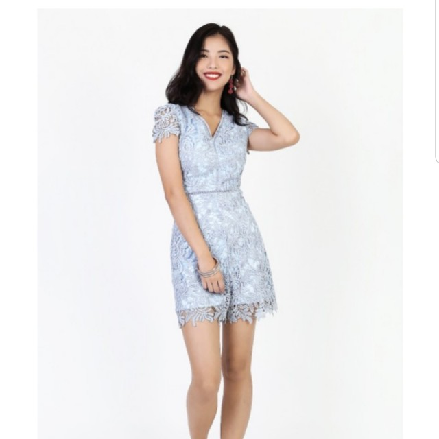 de3ce0fb680a BNWT Keisha Crochet Romper in Sky Blue