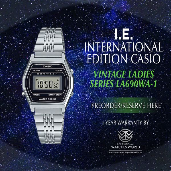 765a2ecfe1fb CASIO INTERNATIONAL EDITION VINTAGE SERIES LADIES LA690WA-1 SILVER ...