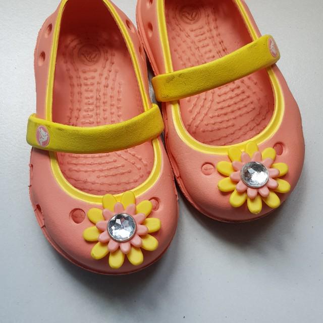Croc Peach-pink Flower Girl Shoes