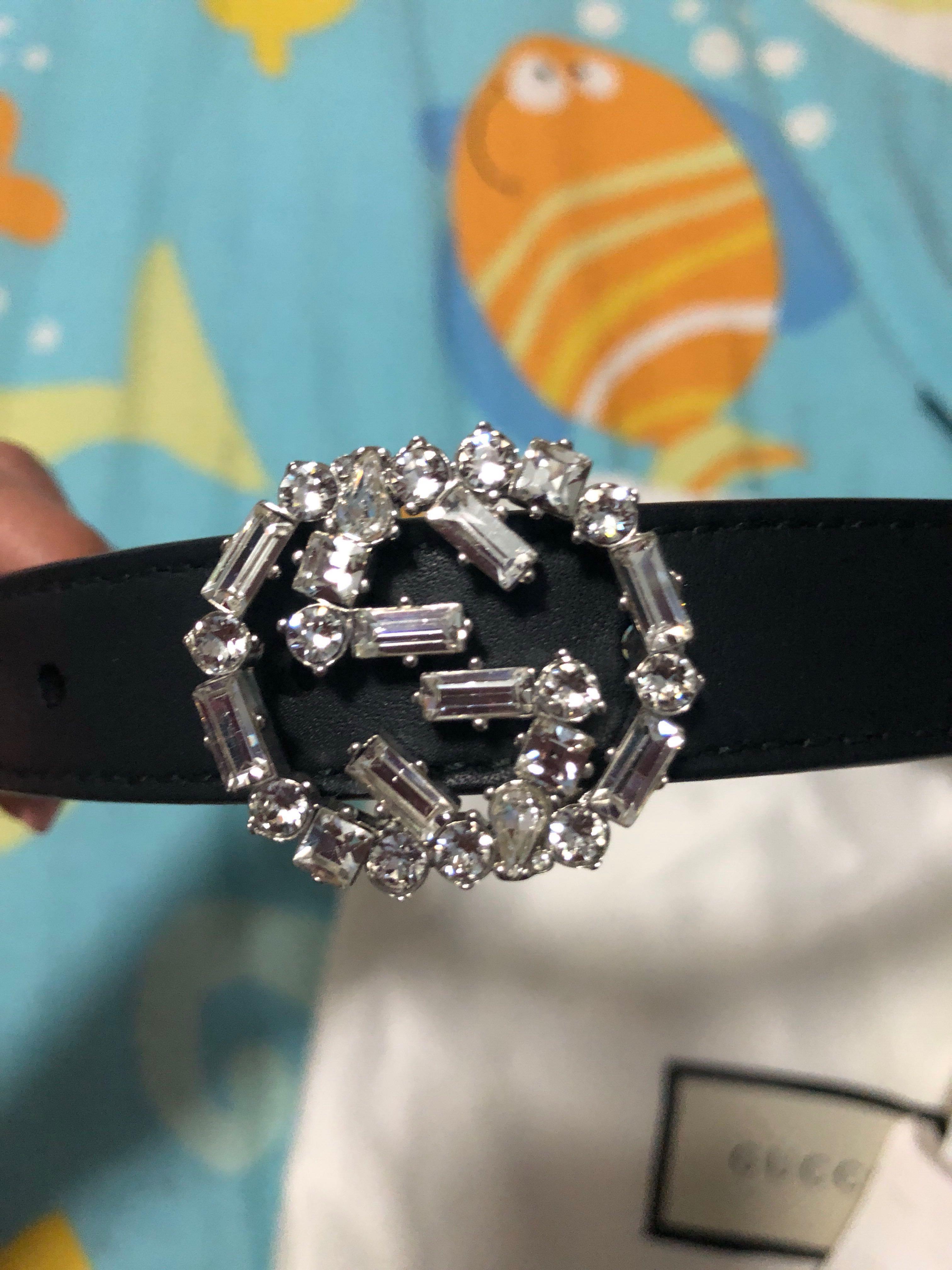 73b707b5a5de Gucci Women Skinny Belt w/crystal Studded GG buckle, Luxury, Accessories,  Belts on Carousell