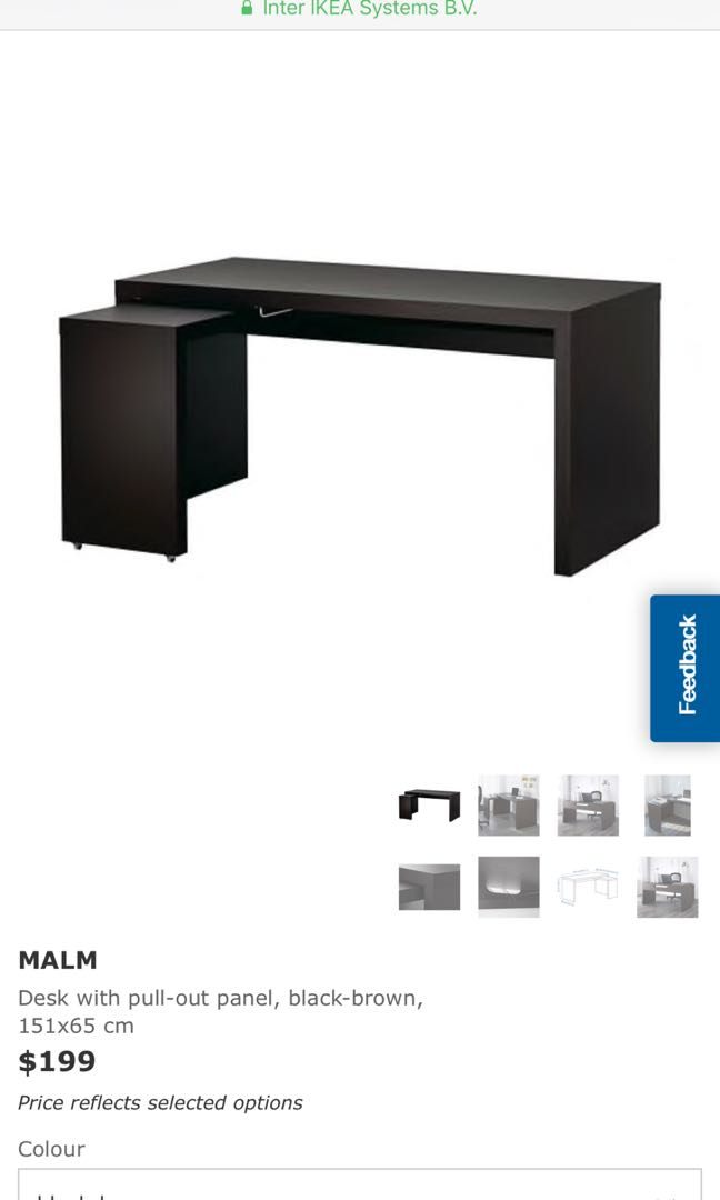 Ikea Malm Desk With Pull Out Panel Black Brown Furniture Tables