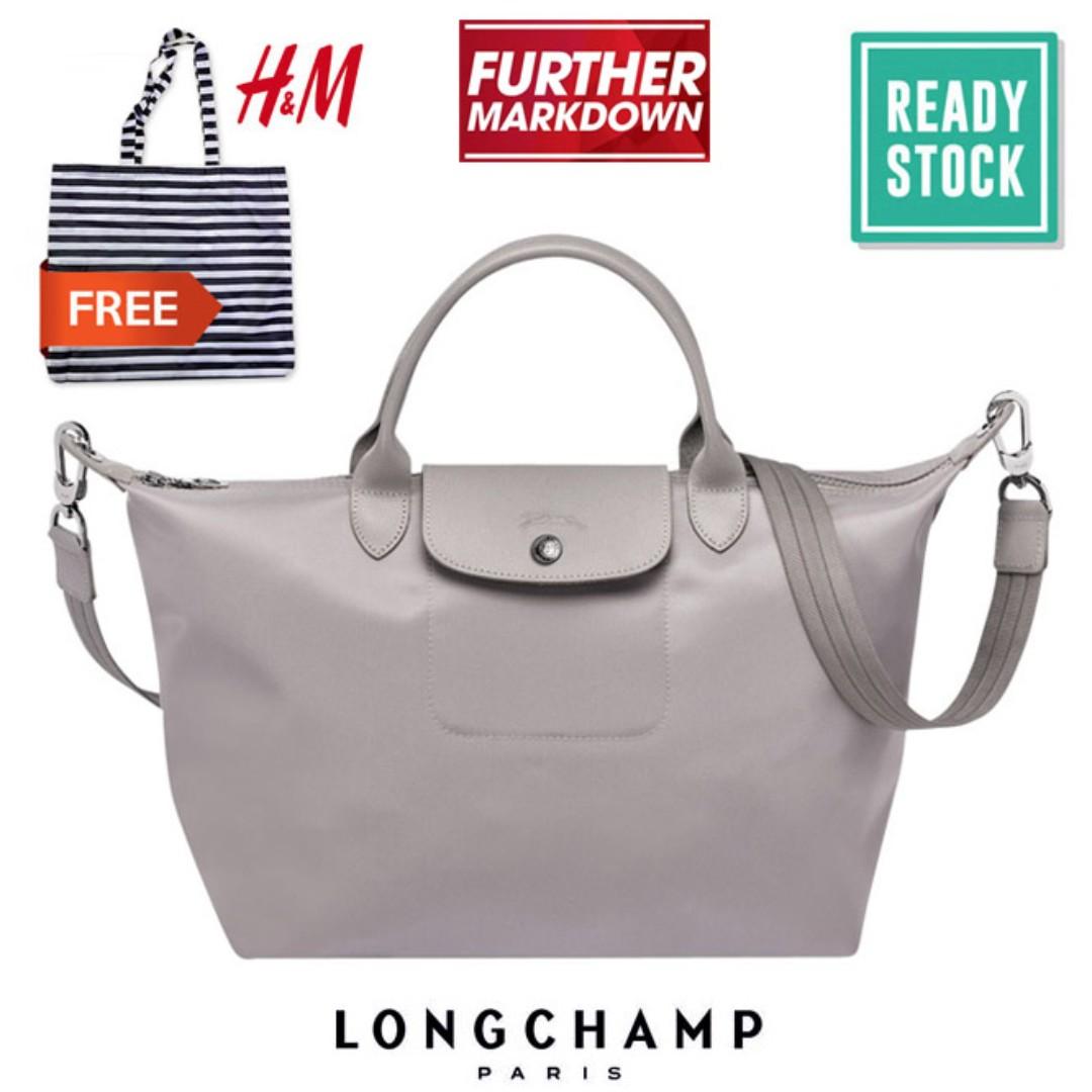 detailed look 7d05d 50134 LONGCHAMP LE PLIAGE NEO MEDIUM TOTE 1515578 (LIGHT GREY)  FREE HM SHOPPING  BAG (LC021), Fesyen Wanita, Beg dan Beg Duit di Carousell