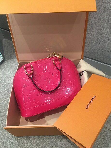 Louis Vuitton Monogram Vernis Alma Bb Bag M90976 Hot Pink Luxury d284bfa828bbf