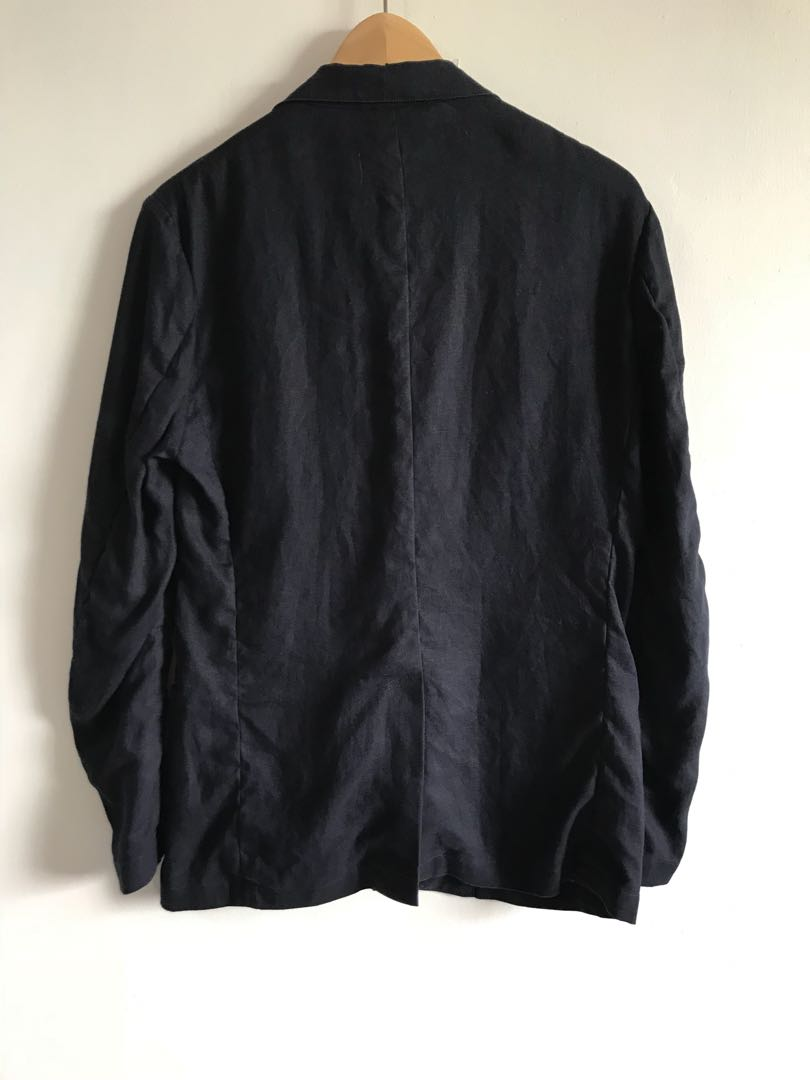 Navy linen blazer muji 49ddecdae2055