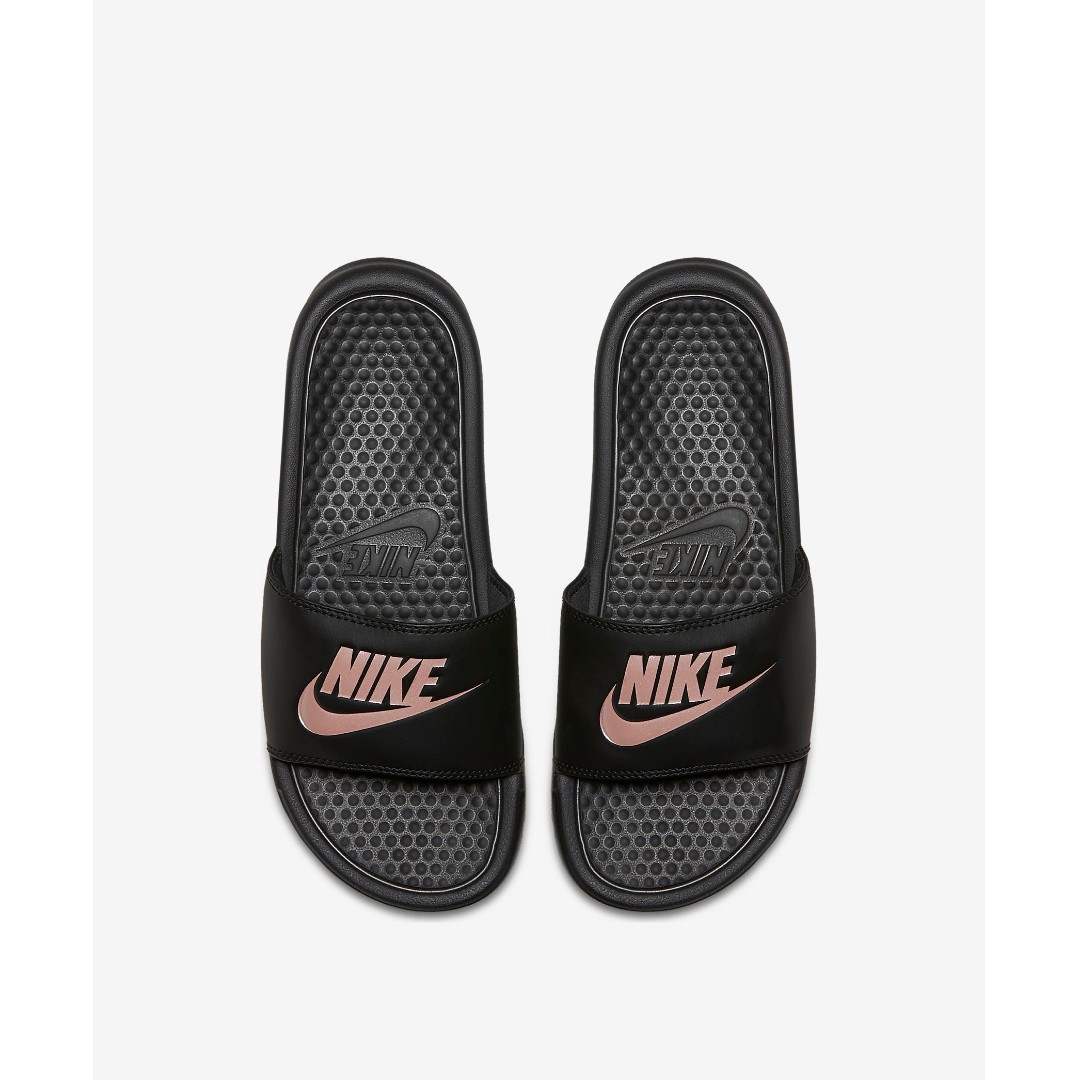 NIKE BENASSI JDI WOMEN S SLIDE - BLACK ROSE GOLD 85ce5d316619