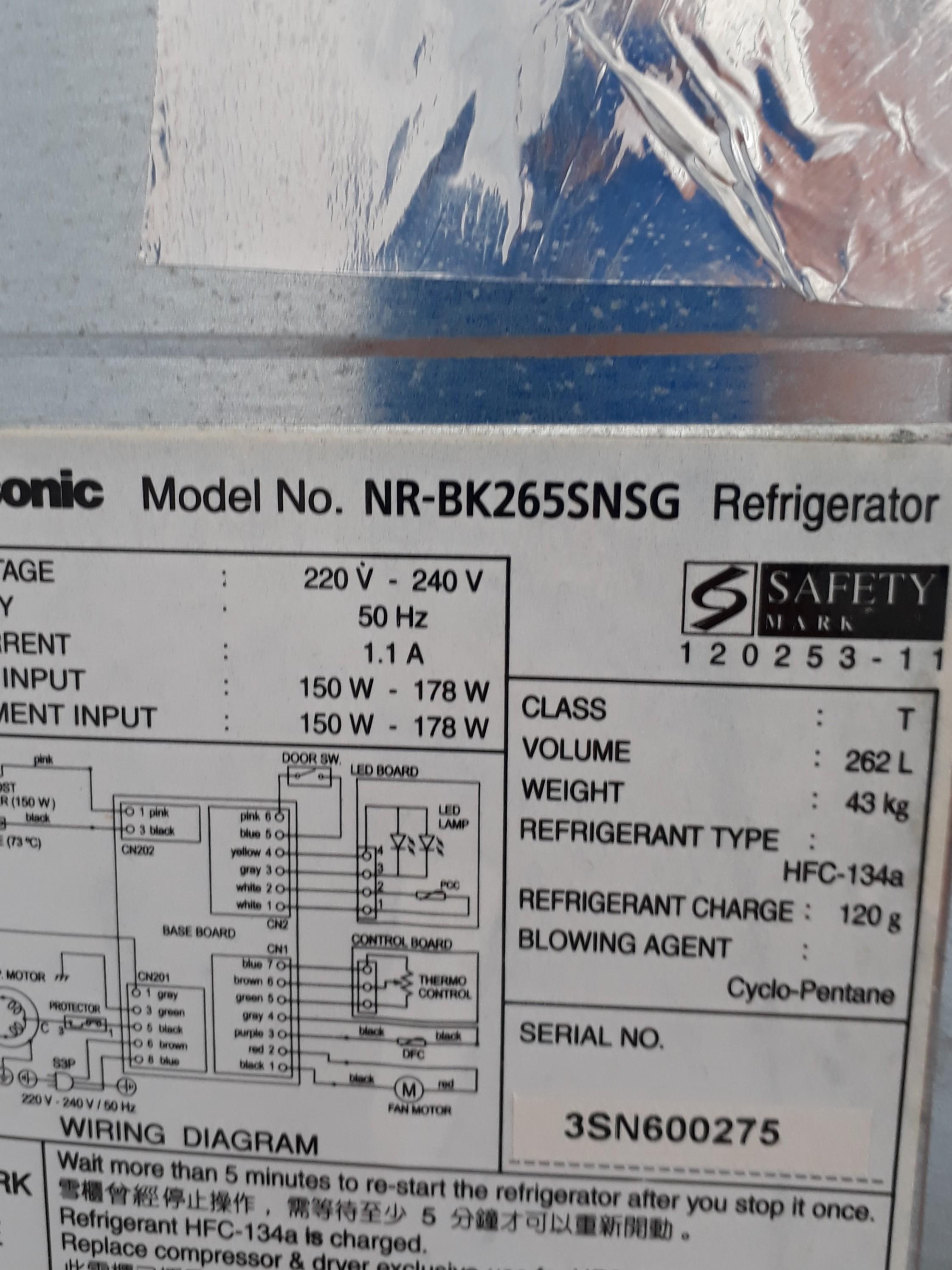 panasonic refrigerator 262 litre home appliances cooling air