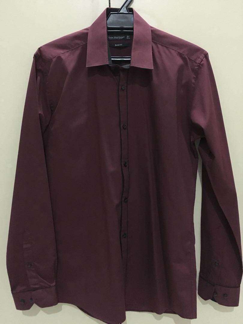 365f516c Primark Cedar Wood State Slim Fit Maroon Shirt, Men's Fashion ...