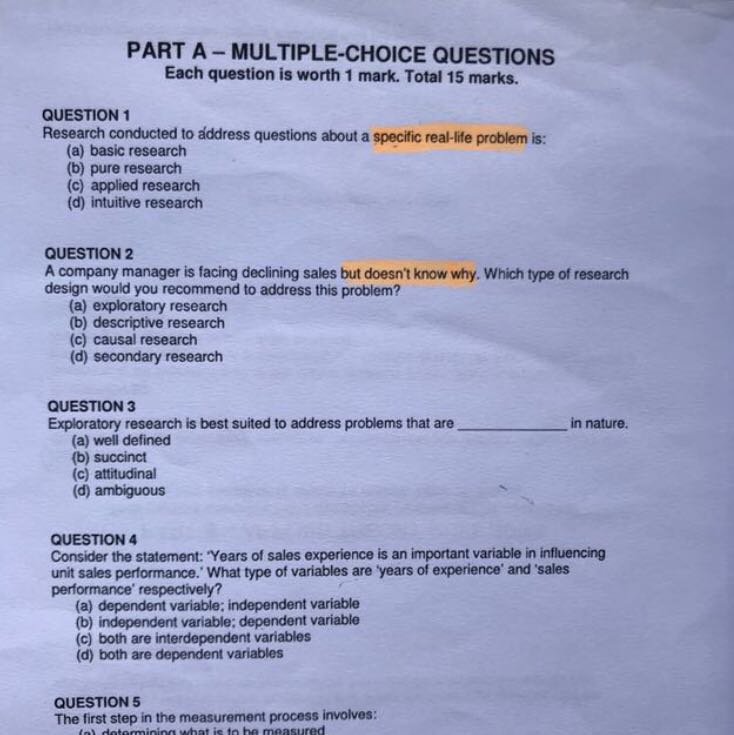 Multiple choice questions marketing research