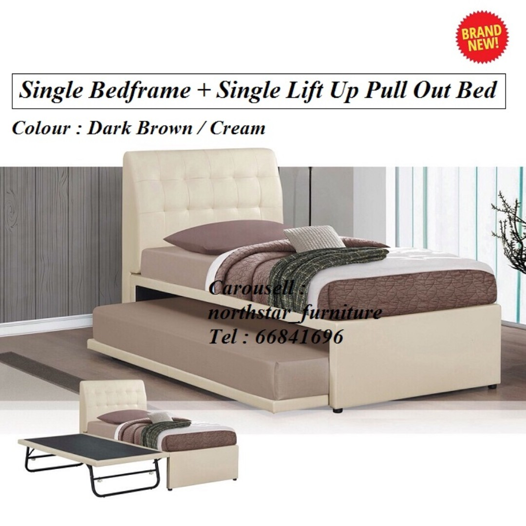 Single Bedframe + Single Lift Up Pull Out Bed, Furniture, Beds ...