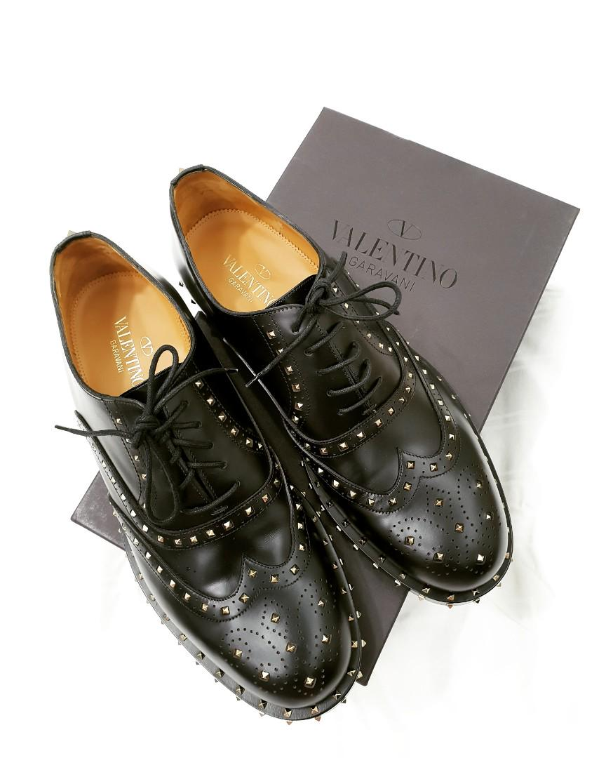 VALENTINO STUDDED LEATHER BROGUE OXFORD