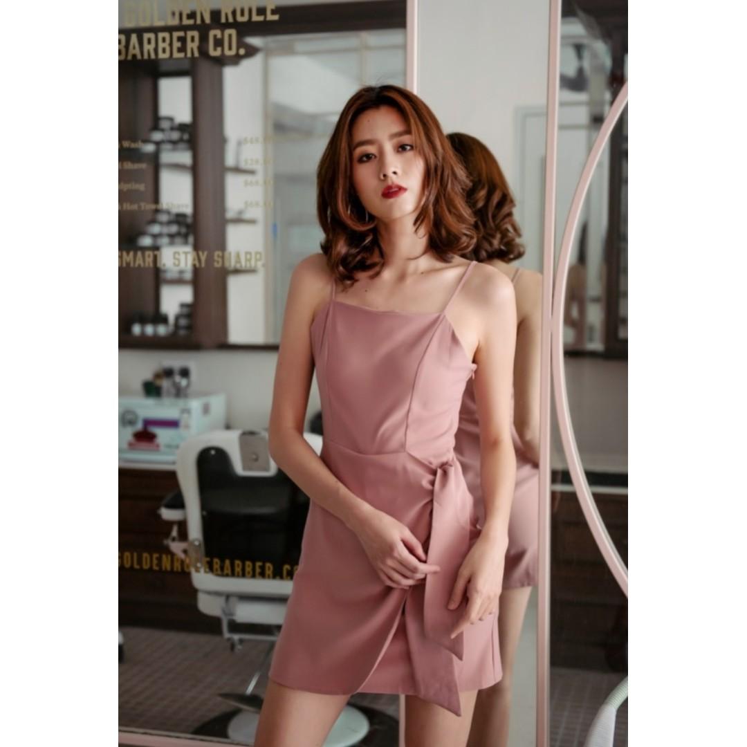 ebf10ddc61a2 Wardrobemess SIDE TIE ROMPER DRESS (DUSTY ROSE)