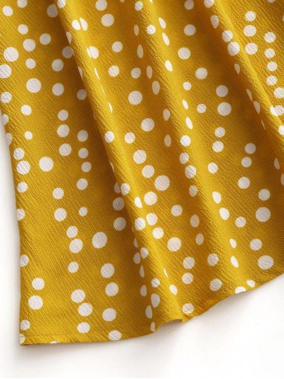 Zaful Womens Polka Dot Crop Top And Skirt Set - Mustard S Pleated