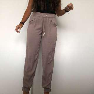 taupe tie pants