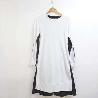 Wool and poplin dress