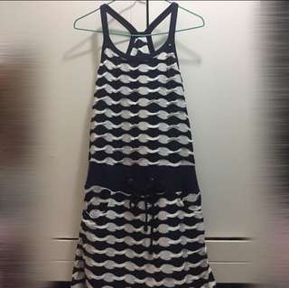 深藍白間連身裙 blue white stripes dress