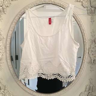 H&M Cropped Lace Tank Top