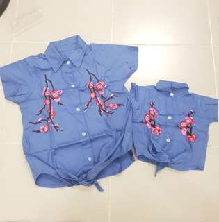 Mother and daughter terno matchy matchy twinning mommy and me baby blue top floral cute