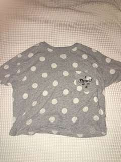 Element CROPPED GREY AND WHIT POLKA DOT TSHIRT