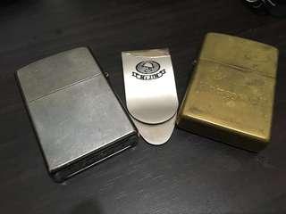 2 Zippo Lighters with McJim Money Clip