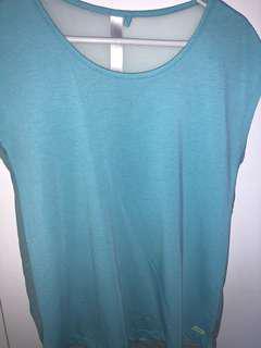 Blue Sheer Back Shirt