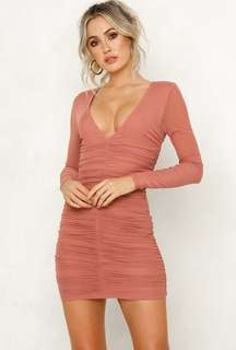 Hello Molly blush ruched dress