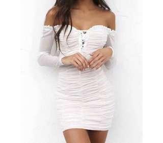 White mesh off the shoulder dress